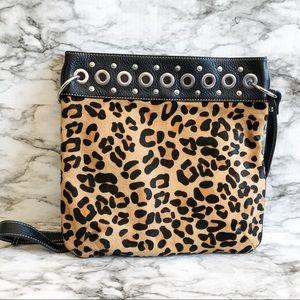 Aqua Madonna Leopard Print Cow Hide Crossbody Bag